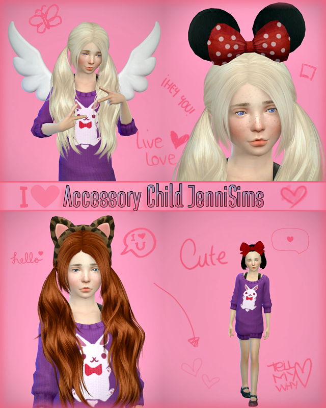 REQUEST: Accessory sets Child (Bow, Minnie, kitty, Wings) by Jenni
