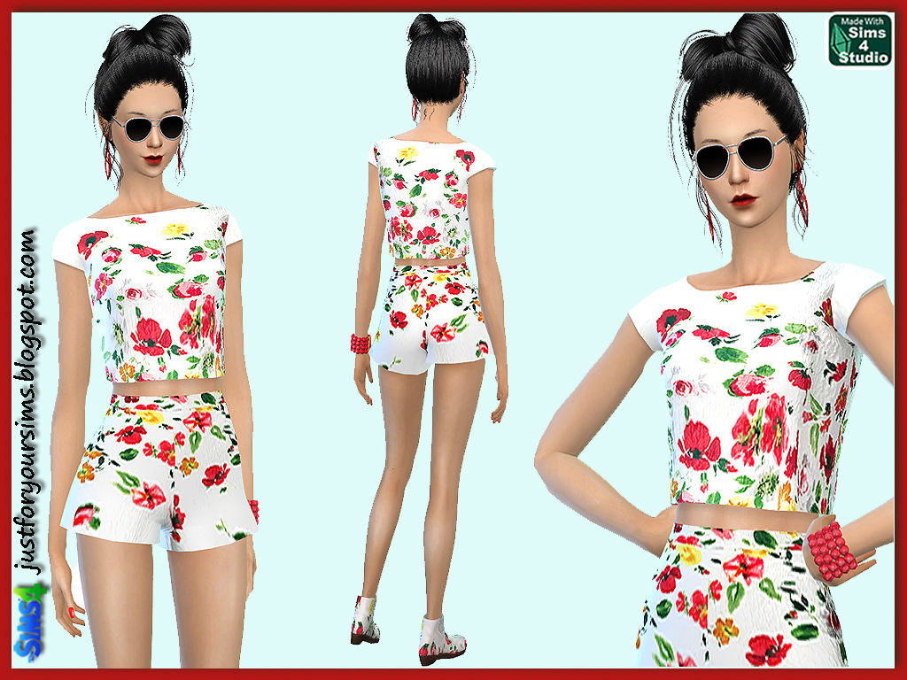 Floral Wide Leg Shorts and Cropped Top by  Just For Your Sims