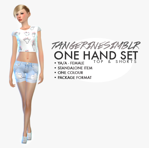 One Hand Set - Top & Shorts by Tangerine