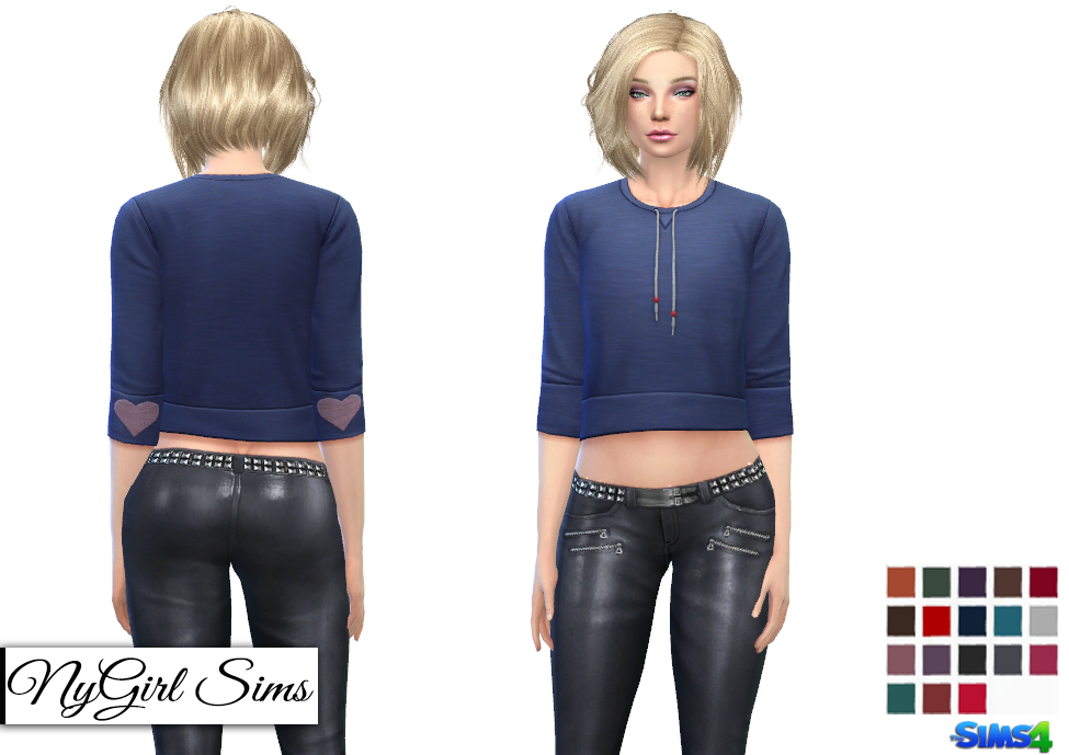 High Shine Zippered Leather Pants by NyGirl Sims
