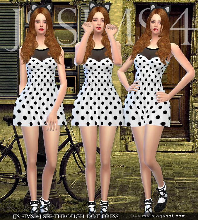 See-through Dot Dress от JS SIMS4