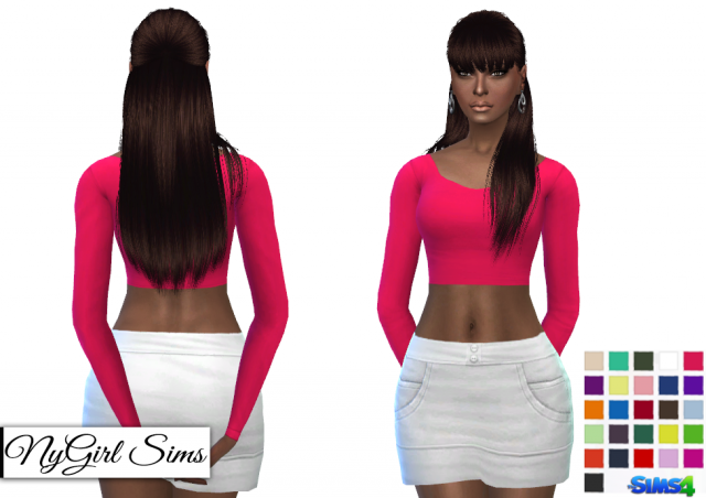Fitted Scoop Neck Long Sleeve Crop Top by Nygirlsims4