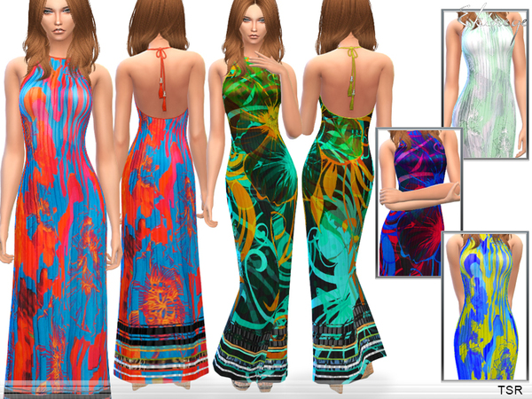 Printed Silk Maxi Dress by ekinege