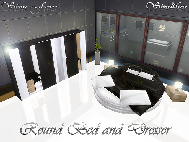 Round bed and Dresser by Sim4fun