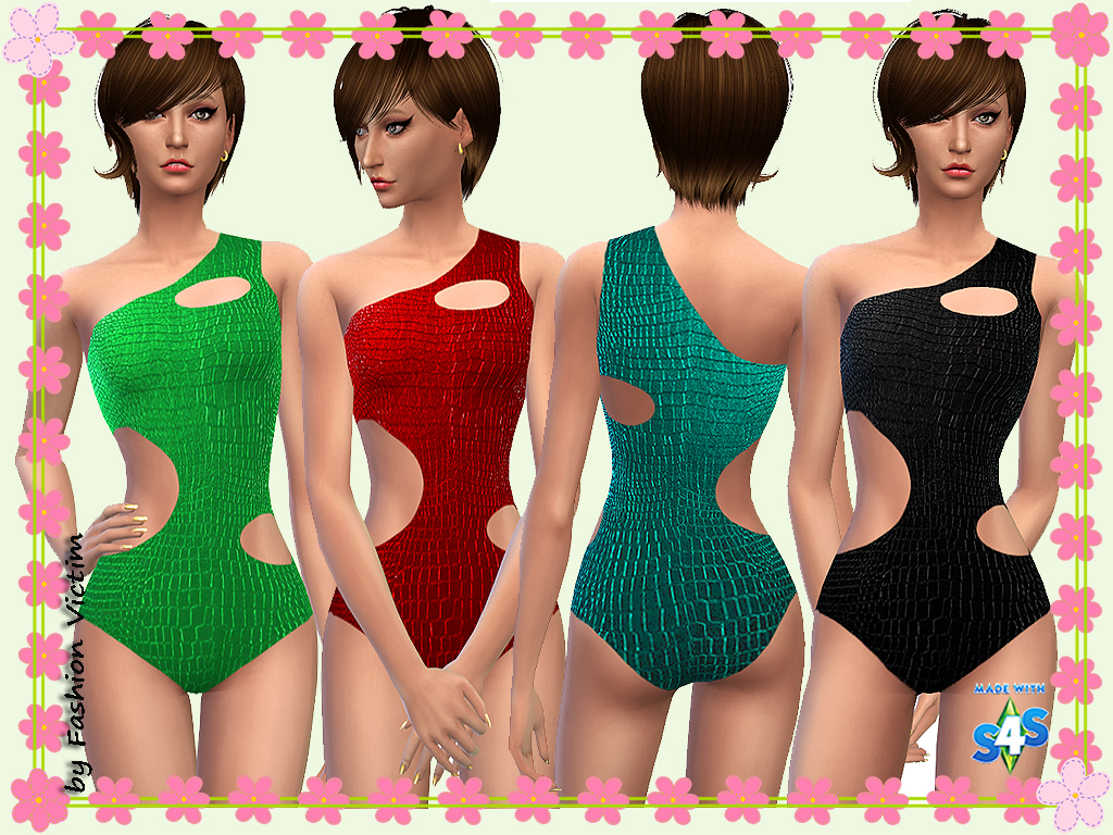 Croco Leather Cut Out Swimsuit by Just For Your Sims