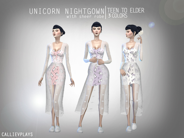 Unicorn Nightgown with sheer robe by Callie V