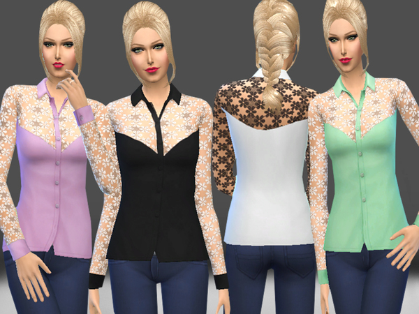 Lace Detail Blouse by melisa inci