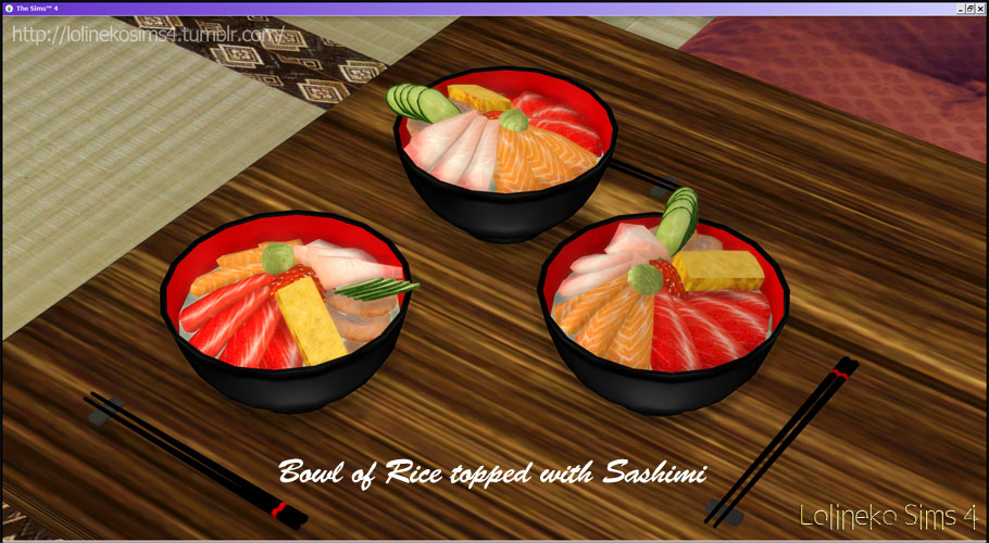Bowl of Rice Topped with Sashimi by Lolinekosims4