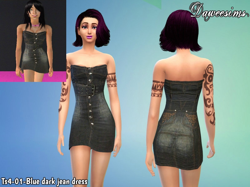 Ts4-01-Blue dark jean dress by Daweesims