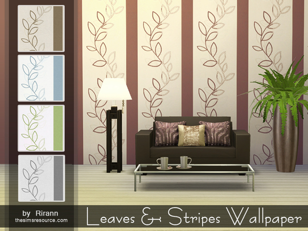 Leaves & Stripes Wallpaper by Rirann