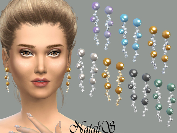 NataliS_Long drop perl and crystals earrings