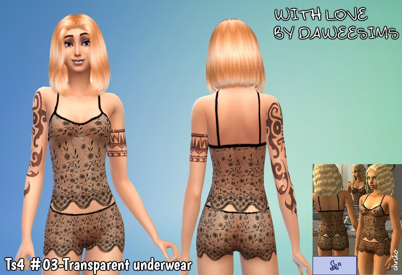 Ts4 #03-Transparent underwear by Daweesims