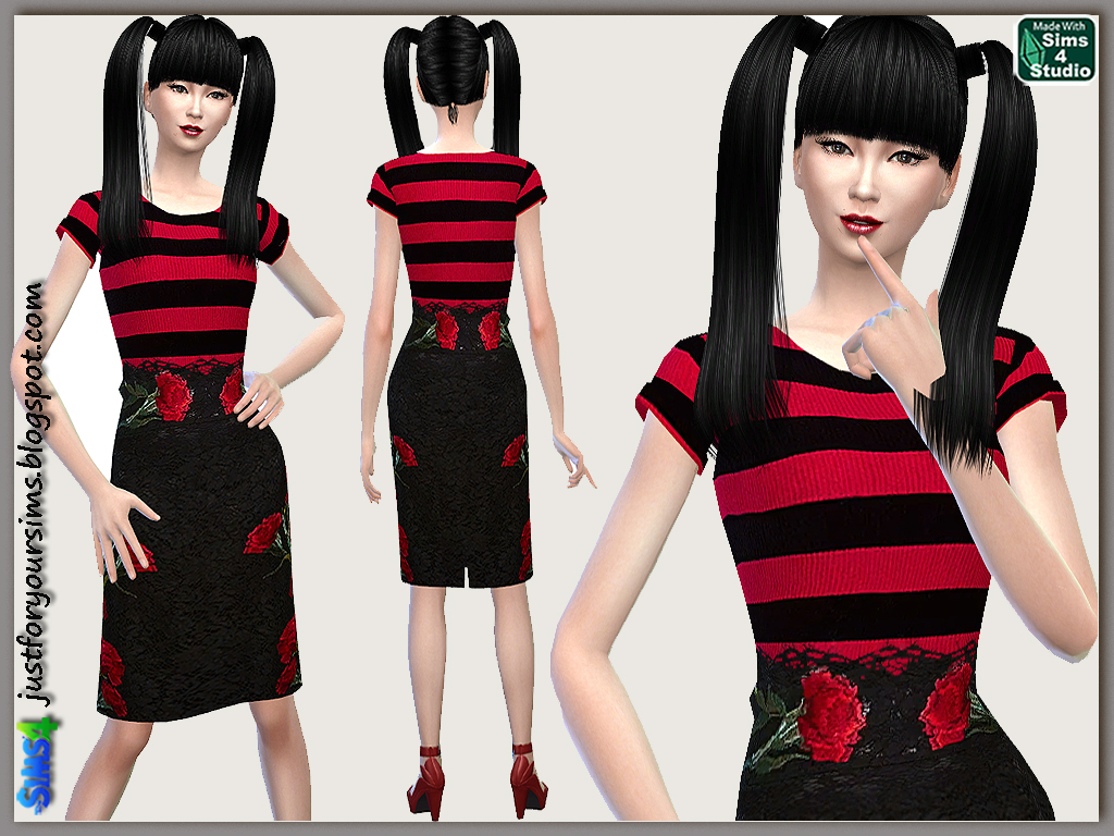 Red Carnation Pencil Skirt and Striped Ribbed Top by Just For Your Sims