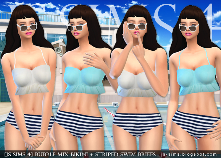 Bubble Mix Bikini + Striped Swim Briefs by JS Sims4