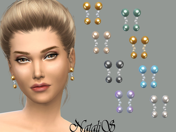 NataliS_Double drop pearl and crystals earrings