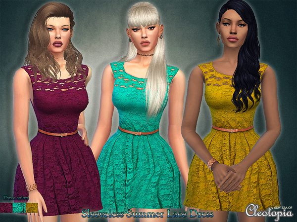 Set37- Sleeveless Belted Lace Dress by Cleotopia