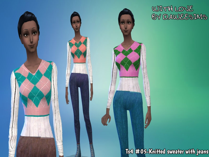 Ts4 #05-Knitted sweater with jeans by Daweesims