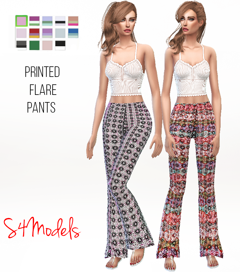 Printed Flare Pants by S4Models