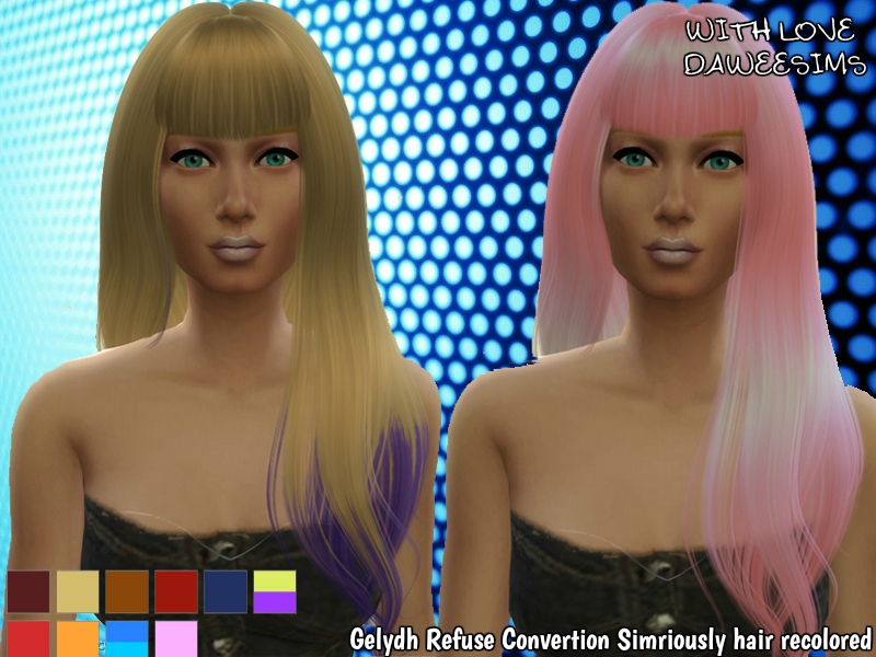 Gelydh Refuse Conversion Simriously hair recolored by Daweesims