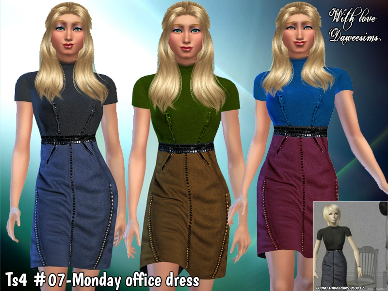 Ts4 #07-Monday office dress by Daweesims