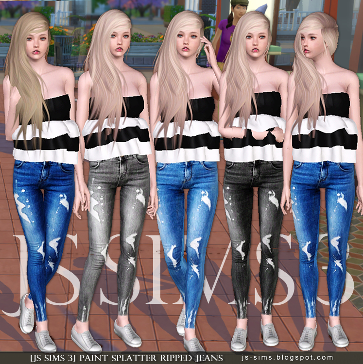 Paint Splatter Ripped Jeans by JS Sims