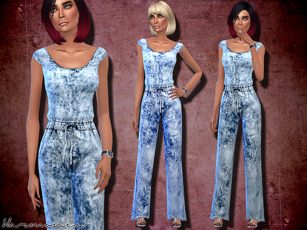 Wash Effect Denim Jumpsuit by Harmonia