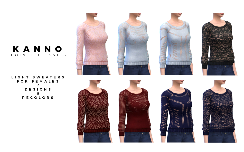 Pointelle Knits Sweaters for Females by Kanno