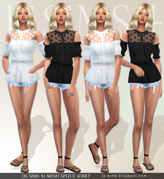 Mesh Splice Shirt by JS SIMS4