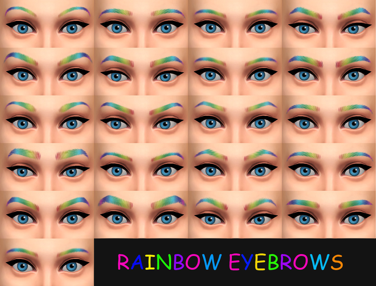 Rainbow Eyebrows! Female Teen - Elder by Simmiller