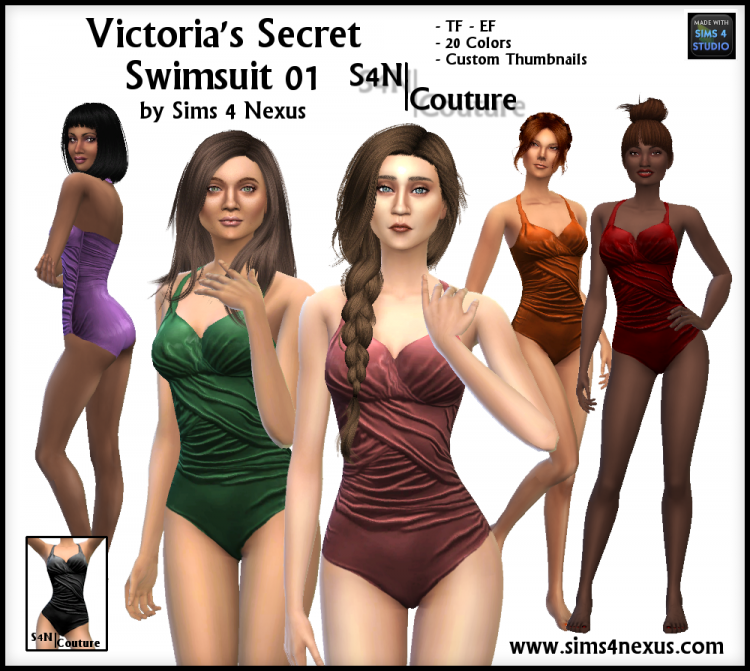 Victoria's Secret Swimsuit for Teen - Elder Females by Sims4Nexus