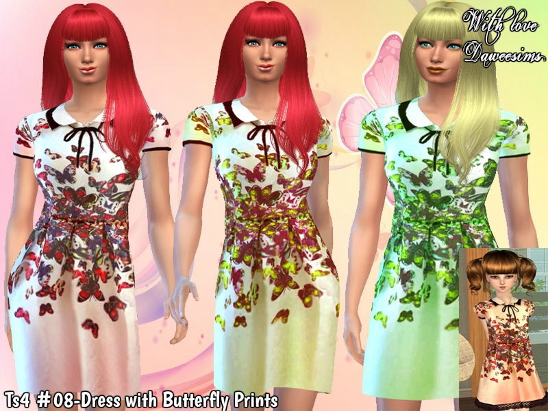 Ts4 #08-Dress with Butterfly Prints by Daweesims