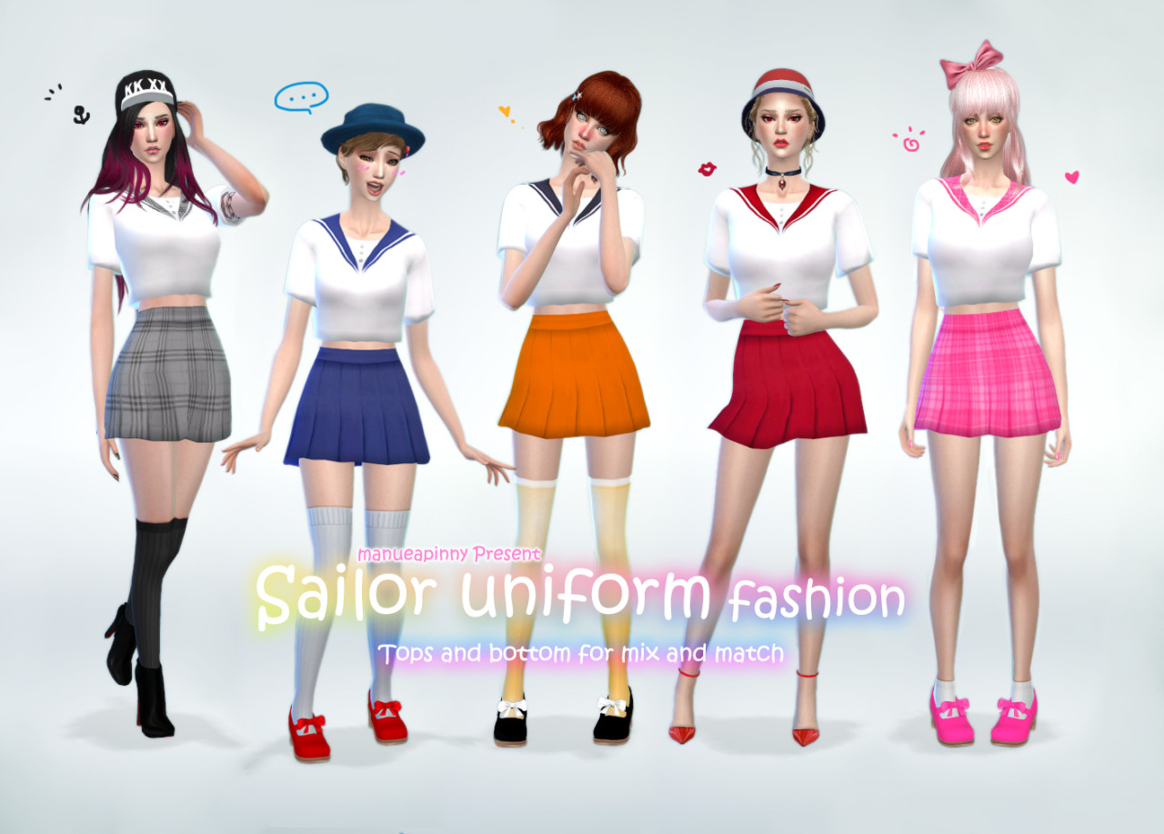 Sailor Uniform Top & Skirt by Manueapinny