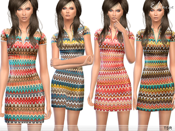 Zig Zag Pattern Knit Dress by ekinege