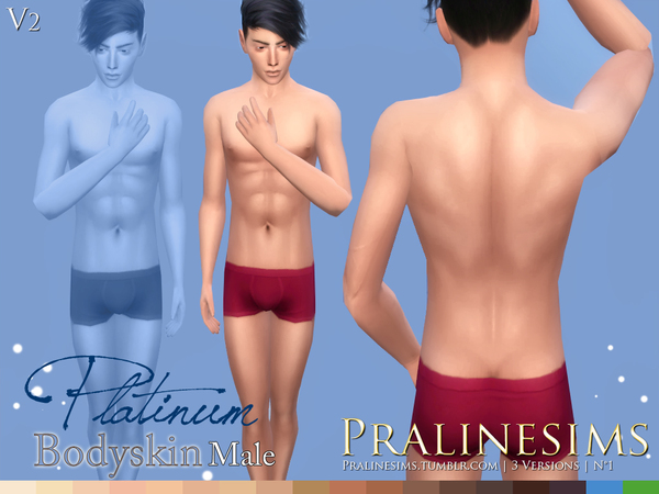 'Platinum' ~ Male Bodyskin (3 Versions) by Pralinesims