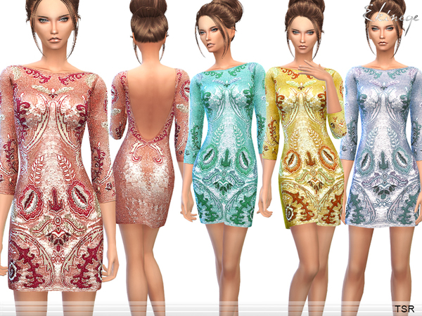 Floral Sequined Mini Dress by ekinege