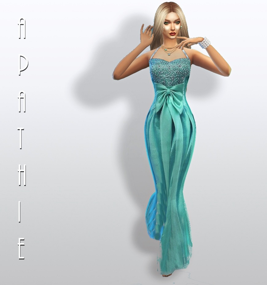 """Mint sirene"" long dress by Apathie"