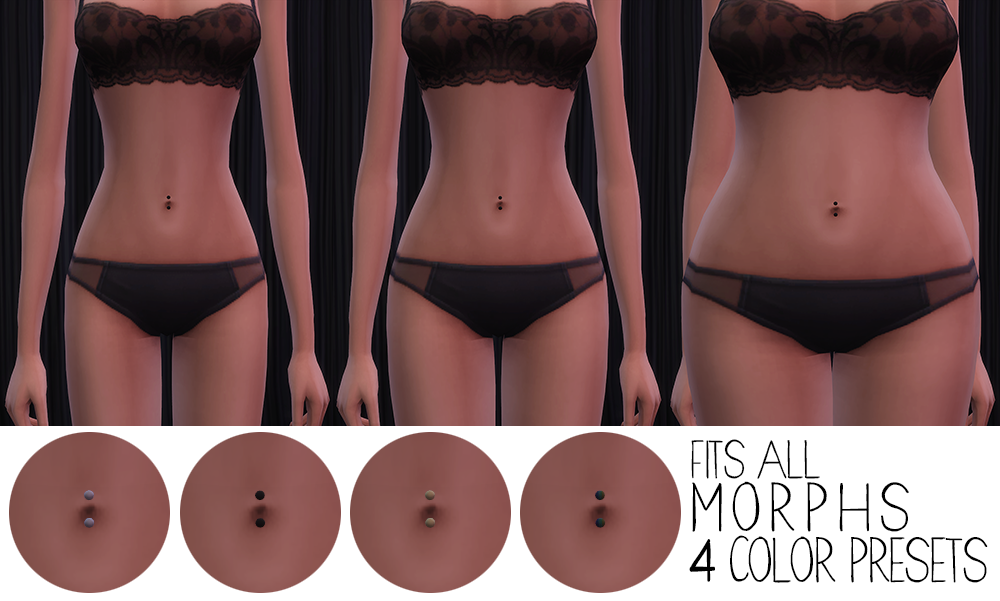 Belly Button Ring - T-E Females, Fits All Morphs, New 3D Mesh by Pickypikachu