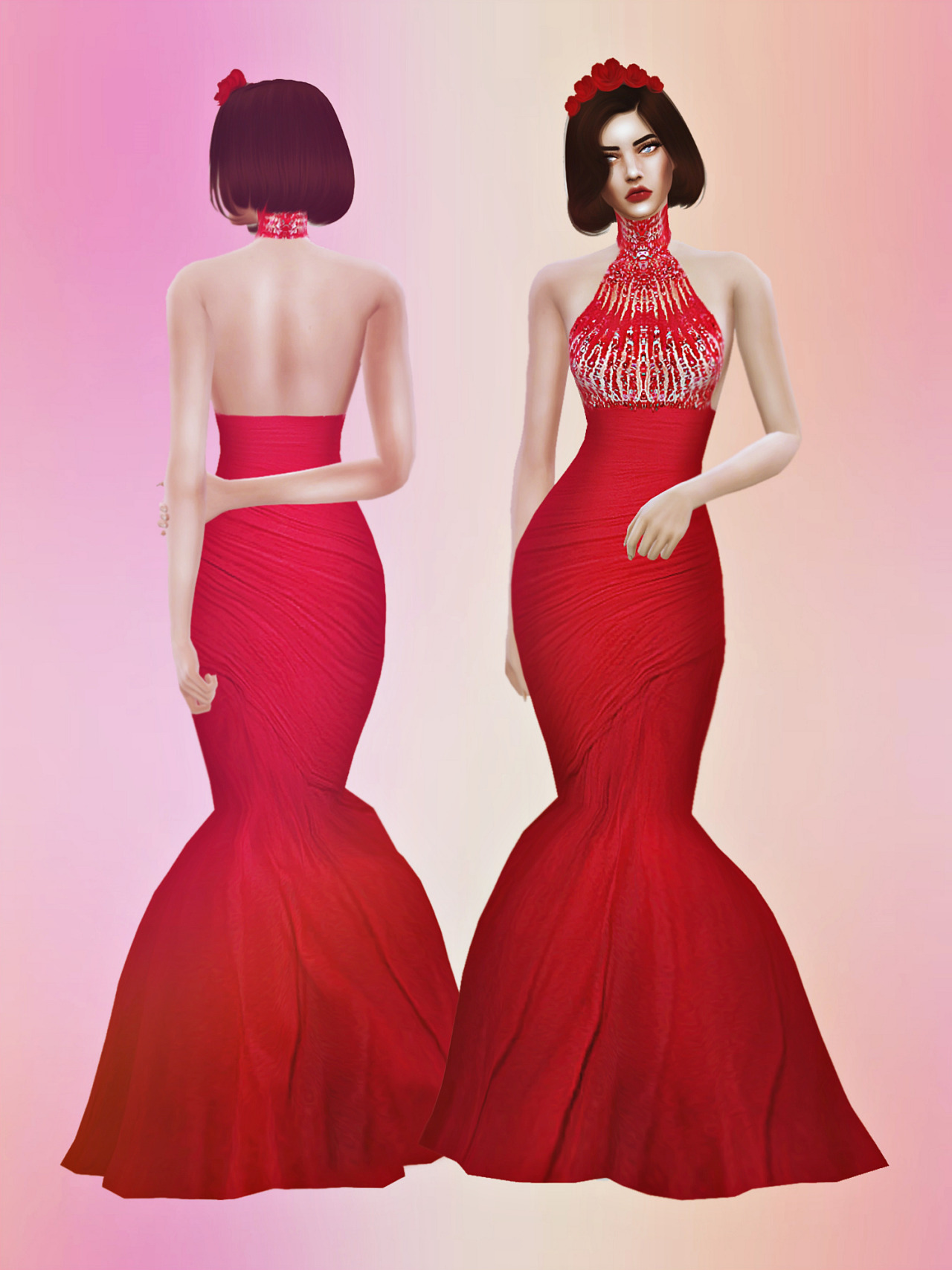 ZM Crimson Gown by FashionRoyaltySims