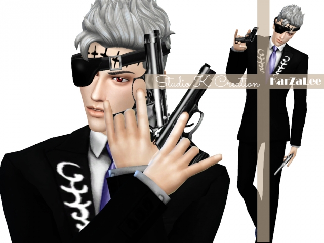 Accessory Guns, Eye Patch and Jacket for Males by Karzalee