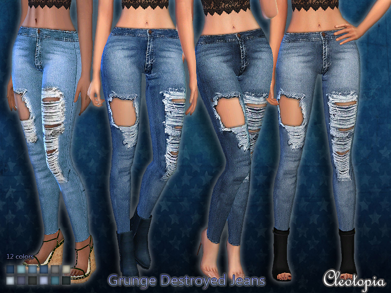 Set39- Grunge Destroyed Jeans  BY Cleotopia