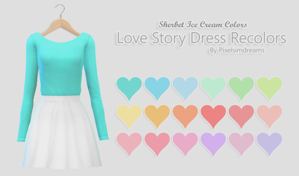 Pixelsimdreams  Clothing, Female : Love Story Dress Recolors