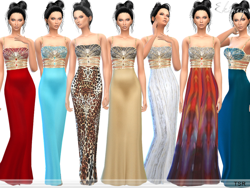 Exotic Jeweled Bodice Evening Gown BY ekinege