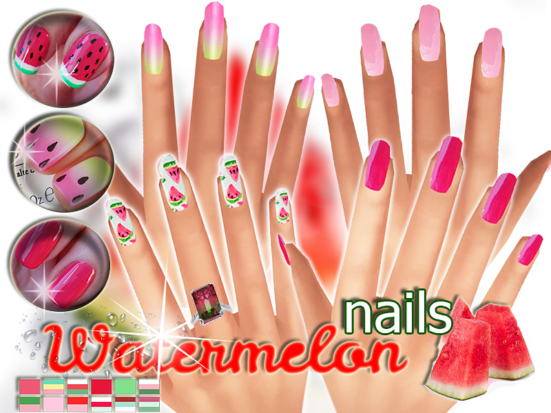 Watermelon nails  BY Pinkzombiecupcakes