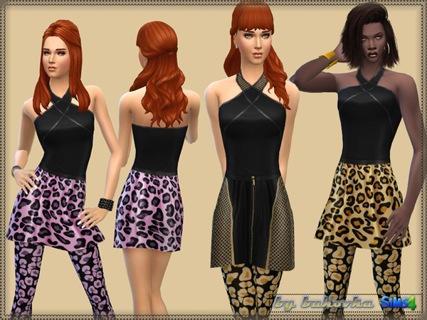 Set:Color Leopard & Grid by bukovka