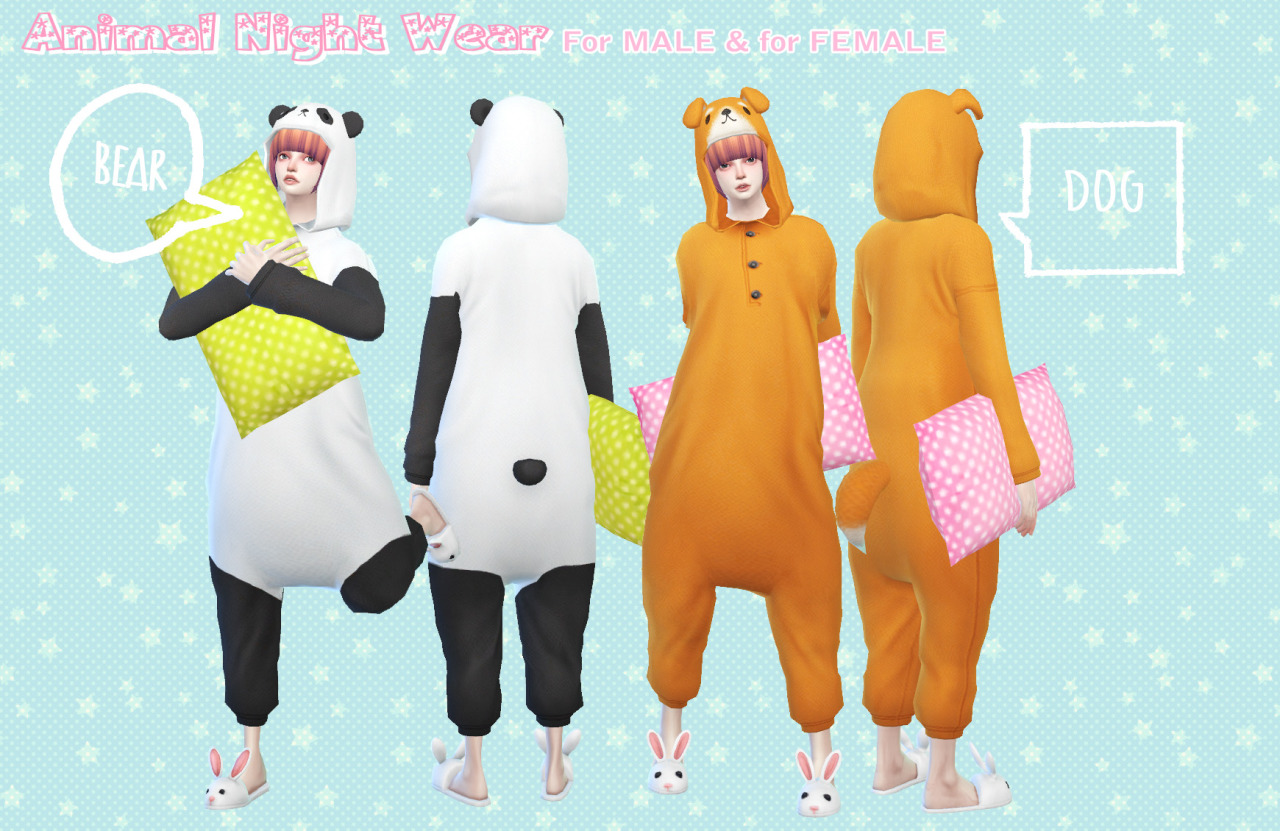 Animal night wear - for MALE &for FEMALE by imadako