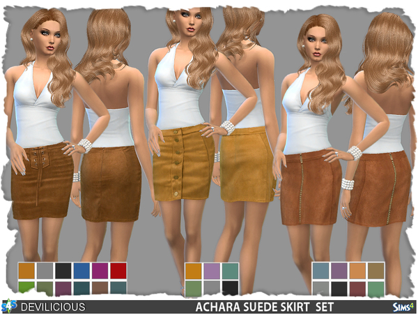 Achara Suede Skirts Set by Devilicious