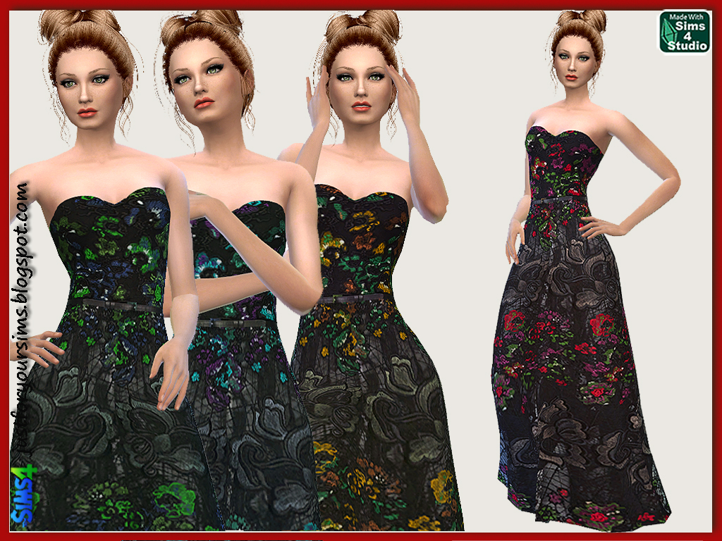 Floral Embroidered Black Gown by Just For Your Sims