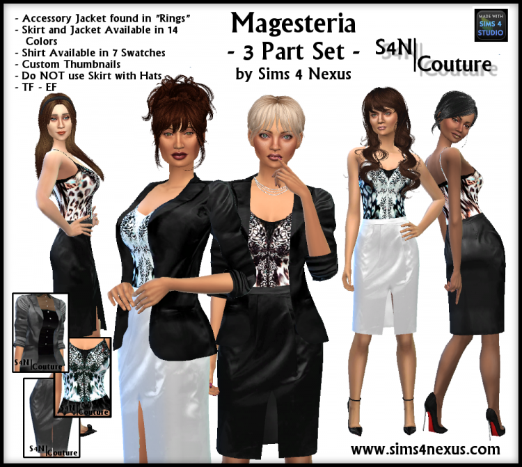 Tops, Skirts and Accessory Jacket for Teen - Elder Females by Sims4Nexus