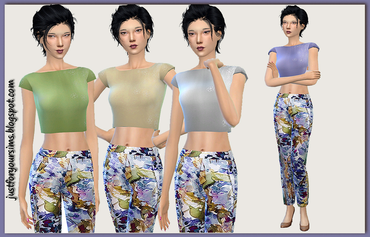 Set with Cropped Top and Floral Pants by Just For Your Sims
