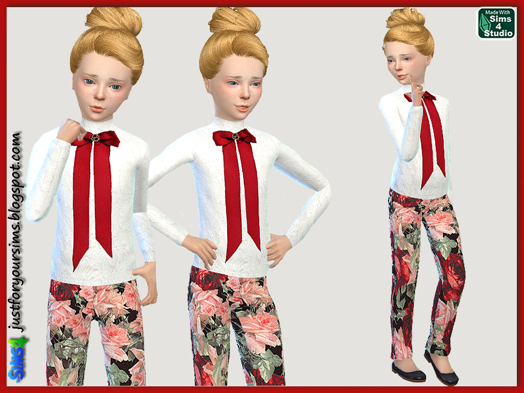 Lace T-Shirt with Bow and Roses Pants for Girls by Just For Your Sims